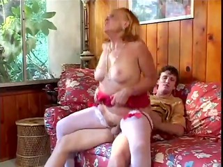 sexually excited grandmother sucks, fucks her