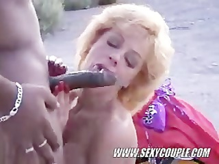 interracial bj on the beach