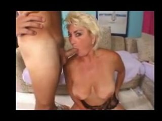 breasty blonde aged in stocking copulates
