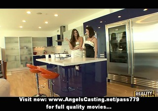 lesbian brunette girls cooking and flashing