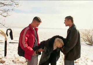 irina with boys on the snow