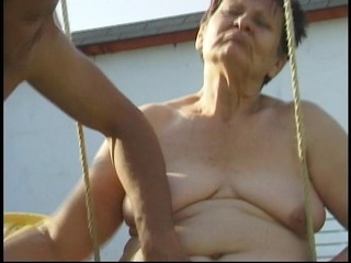 grandmother acquires cum on her face