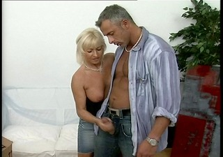 mature lady rewards the moving fellow for his