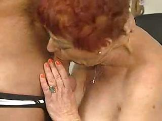 deliciously hirsute granny sucks and copulates