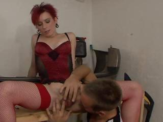 aged redhead acquires her unshaved bush rubbed
