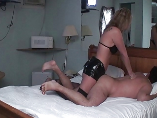 wife headmistress pounds husbands butt with dong
