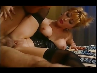 hot oriental wife in satin basque &; nylons