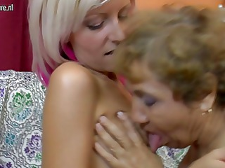 old lesbo grandmother copulates a cute gal