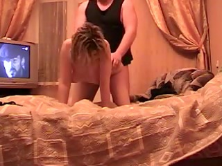 older amateur russian pair hawt fucking on couch