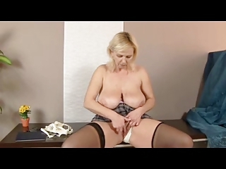 chubby blond older in nylons