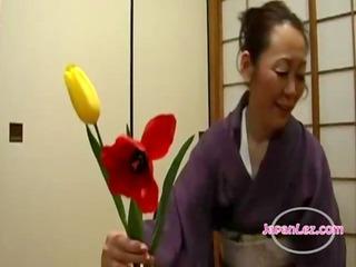 oriental legal age teenager in kimono getting her
