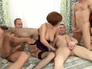aged merilyn double penetration group sex with