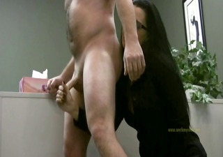 lady boss handjobs employee merely for his cum