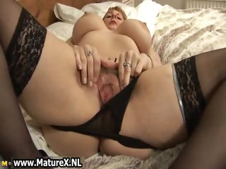 large breasts mature with dark nylons