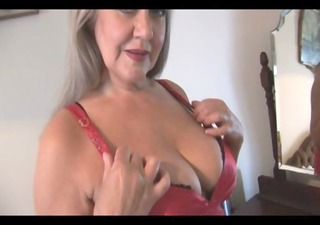attractive bust granny in slide and stockings