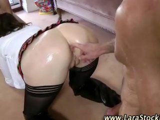 european hottie in nylons takes on men in aged sex