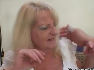 drunk golden-haired granny in hot threesome orgy