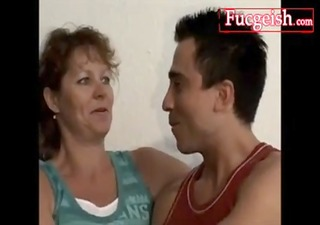 ugly aged grandma seducing young weenie for movie