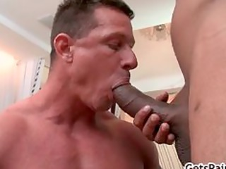 aged muscle lad engulfing black penis part5