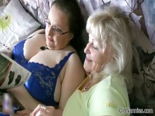 excited granny loves having lesbo sex part1